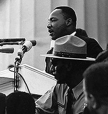 "Matin Luther King, Jr. giving his ""I Have A Dream"" speech in front of the Lincoln Memorial on the March on Washington for Jobs and Freedom - August 28, 1963"