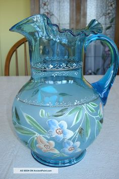 Hand Blown And Hand Painted Blue Pitcher And 5 Matching Glasses, Maybe Fenton Pitchers photo Fenton Glassware, Antique Glassware, Fenton Lamps, Cut Glass, Glass Art, Glass Pitchers, Water Pitchers, Deco Table, Carnival Glass