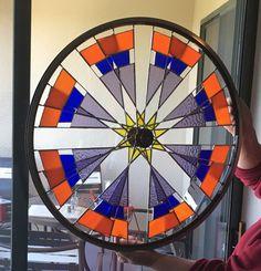 Starburst Bike Wheels, Bicycle Rims, Bicycle Parts, Stained Glass Panels, Stained Glass Art, Stained Glass Patterns, Fused Glass, Glass Garden, Garden Art