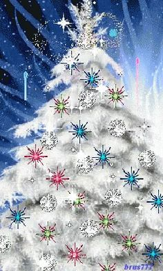 A White Christmas Tree Christmas Tree Gif, Christmas Scenes, Christmas Past, Christmas Images, Christmas Greetings, Winter Christmas, Christmas Lights, Christmas Decorations, Xmas