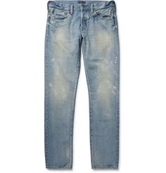 SIMON MILLER M001 Slim-Fit Tapered Distressed Selvedge Denim Jeans. #simonmiller #cloth #jeans