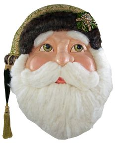"Katherine's Collection Tapestry Christmas Collection 32"" Tapestry Santa Wall Mask Free Ship"