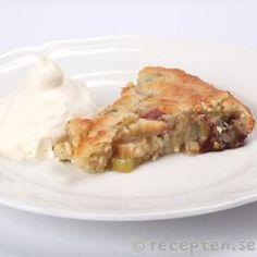 Rabarberpaj med mandeltäcke Spanakopita, Apple Pie, Macaroni And Cheese, Chutney, Cake, Ethnic Recipes, Desserts, Food, Tailgate Desserts