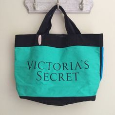 """Color Block Tote Bag  New with tags• Victoria's Secret• Oversized tote or travel bag ✈️ black with green and blue exterior • interior is a black nylon type material• perfect size for a day at the pool, beach, or for a night out  approximate measurements: length-21.5""""; height-14""""; width-6""""; strap drop-7""""  Victoria's Secret Bags Totes"""