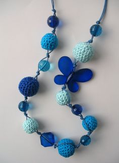Blue crocheted necklace with beads E215 by DreamList on Etsy