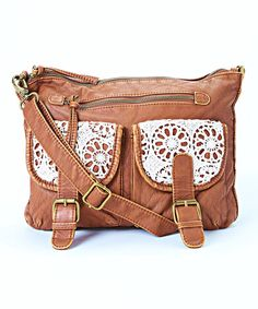 Another great find on #zulily! Cognac Crochet Double-Pocket Crossbody Bag by T-Shirt & Jeans #zulilyfinds