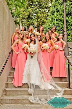 #Bridesmaids #Dresses #Coral Photo By: Angela Wilson Photography www.AngelaWilsonPhoto.com