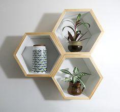 Deeper Hexagon Shelves - Set of 3 by Whalewood of Waikato