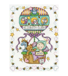 Tobin Balloon Ride counted-cross-stitch Kit Birth Record