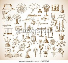 Back to school big doodles set. Physics, Chemistry, Biology. Hand drawn with ink. Vector illustration.  by Elinalee, via Shutterstock