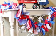 Fourth of July Decor, 4th of July Decoration, Red, White and Blue Rag Tie Garland on Etsy, $22.00