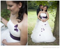 I never saw a wedding dress like this.  Love the purple butterflies on it.