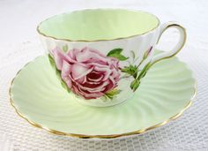 Aynsley Tea Cup and Saucer with Cabbage Rose, Green, Swirled Ribbing, Vintage Bone China, Antique Tea Cup