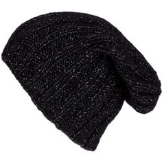 Grevi Black Chunky Knit Beanie Hat found on Polyvore Knit Beanie Hat c6f23abef6ce