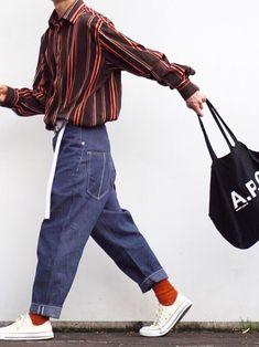 Shop staff K @ zuki Japanese Fashion, Korean Fashion, Retro Outfits, Cute Outfits, Retro Fashion Mens, Retro Men, Womens Fashion, Estilo Hip Hop, Italian Fashion