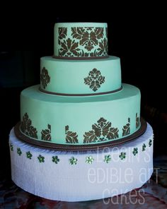 Turquoise Damask Wedding Cake