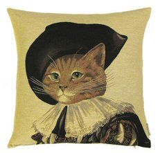 http://www.abentleycushions.co.uk/detail.asp?pID=7195 Cat D'Artagnan Belgian Tapestry Cushion With Cotton Reverse. An exclusive design by Susan Herbert.