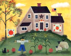 Country Saltbox with Scarecrow Pumpkins Sheep Print