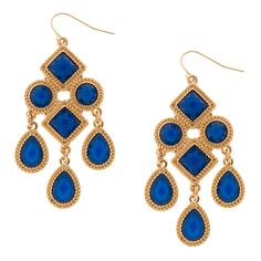 Geometric Textured Gold and Blue Stone Chandelier Drop Earrings