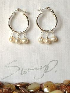 Sterling Silver Hoop Earrings with Three Pearl by SunnyDsMarket, $24.00