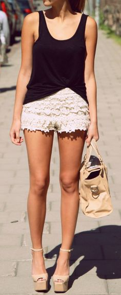 Simple Spring Style: Lace Shorts + Black Tank. Need to work out my legs!