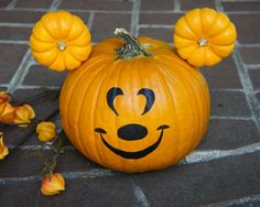 Disney painted pumpkins Mickey Mouse gourds
