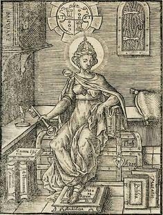 """L'Alchimia ha le labbra chiuse dal segreto, eppure tiene in mano la chiave del tesoro su cui è seduta...   (Immagine dal """"Quinta Essentia"""" di Leonhard Thurneisser zum Thurn, 1574)"""