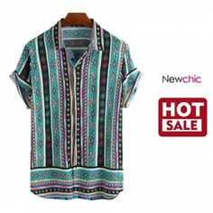 INCERUN Mens Ethnic Geometric Print Short Sleeve Casual Shirt is designer and cheap on Newchic. Swag Outfits, Casual Outfits, Men Casual, Dress Casual, Men's Shirts And Tops, Casual Shirts, Classy Men, Muslim Fashion, Mens Clothing Styles