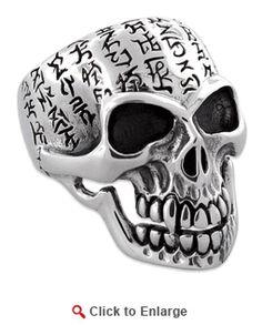 Sterling Silver Alien Symbols Skull Ring