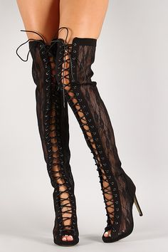0179e454049 Semi Sheer Lace Up Thigh High Boot