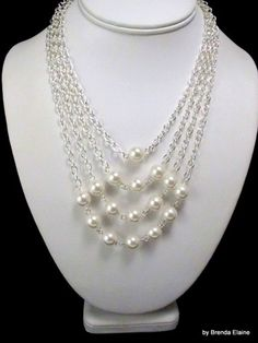 Necklace with Pyramid of Pearls in Silver | byBrendaElaine - Jewelry on ArtFire