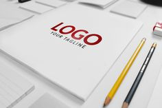 Free Matte Finish Logo Mock-up PSD. White stationary.Downscaled in size for highly ultra small size projects.