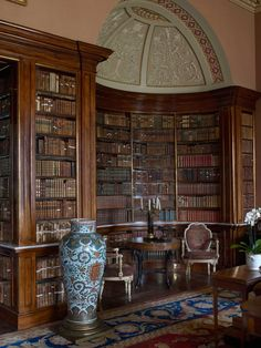 The library at Harewood House, Yorshire, featuring a spectacular ceiling by Robert Adam