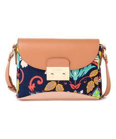 This Tan & Navy Amelia Leather Shoulder Bag is perfect! #zulilyfinds