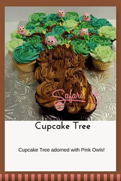 Owl Cupcake Tree Baby Shower Cake #baby #cupcake #owl