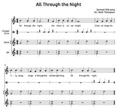 Beth's Music Notes: All Through the Night-BAG song with Orff accompaniment