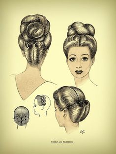 Vintage Hairstyles Retro Comely and Flattering - Vintage Hairstyle Inspiration - Vintage Hairstyles Tutorial, 1940s Hairstyles, Curled Hairstyles, Wedding Hairstyles, Vintage Updo, Retro Updo, Vintage Dress, Moda Vintage, Retro Vintage