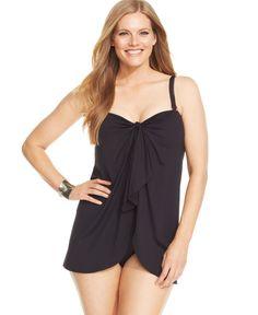 142653def31e6 Lauren Ralph Lauren Plus Size Flyaway Slimming Fit One-Piece Swimsuit Plus  Sizes - Swimwear - Macy s