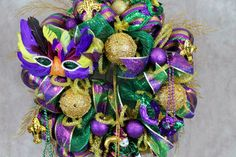 Mardi Gras Wreath, Deco Mesh Mardi Gras Wreath, Purple, Green, Gold Decor, Mardi Gras Masks, Fleur De Lis, Beads, 30 inch Mardi Gras Wreath by southerncharmflorals. Explore more products on http://southerncharmflorals.etsy.com