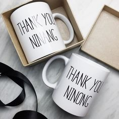 We've getting personalized requests for weddings too! :) Don't forget to say thank you to your ninongs and ninangs! These mugs will make them think of you every time they drink their tea or coffee . Wedding Giveaways Ideas Souvenirs, Unique Wedding Souvenirs, Wedding Tokens, Wedding Favours Luxury, Homemade Wedding Favors, Creative Wedding Favors, Inexpensive Wedding Favors, Elegant Wedding Favors, Wedding Gifts For Guests