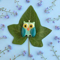 Light-blue green owl pendant Light-blue owl glass pendant