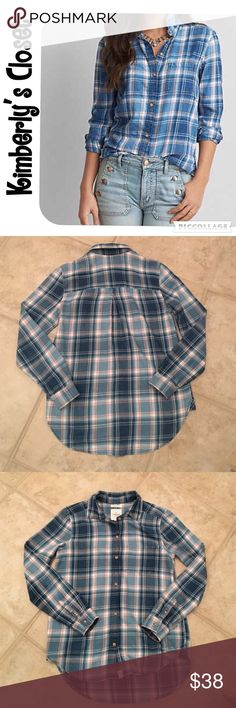 ✨AMERICAN EAGLE✨ Plaid Shirt American Eagle boyfriend fit plaid flannel shirt.  Super soft and lightweight - 100% cotton.  Shades of blue with red and cream accent colors.  Worn one time - excellent condition. American Eagle Outfitters Tops