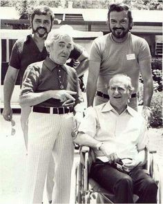 Moe and Larry of the Three Stooges towards the end, 1973.