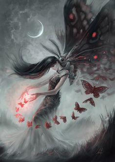 CAPTIVATED.  What you create consumes you... #moth #fantasy #magic #Michaelblank #fantasyart