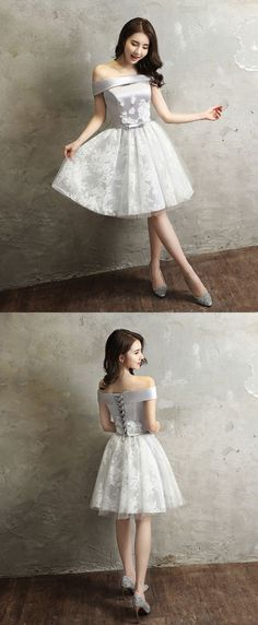Gray tull lace off shoulder short prom dress, homecoming dress