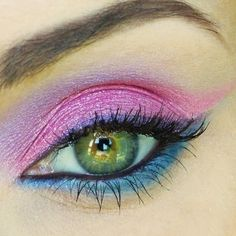 Pink and purple eyeshadow that is super cute and girly.