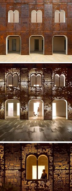 The rebirth of the Campiello, Venice. Corten steel facade created by art historian Philippe Daverio and artist Giorgio Milani: