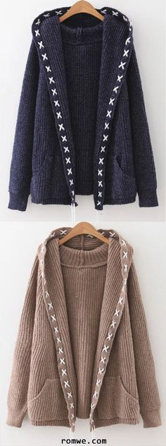 6440aae183 Navy Lace Up Trim Hooded Cardigan With Pockets. Knit Cardigan PatternHooded  ...