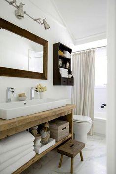 Rustic Custom Vanity Bathroom, Powder Room Dallas - Home Dekor Rustic Bathroom Vanities, Rustic Bathrooms, Bathroom Ideas, Bathroom Designs, White Bathroom, Bathroom Organization, Bathroom Storage, Small Bathrooms, Bathroom Renovations