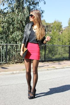 leather jacket, and skirt with tights